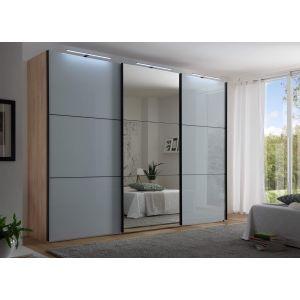 Schuifdeur kledingkast Includo - 3 deurs - Glas - Compleet interieur