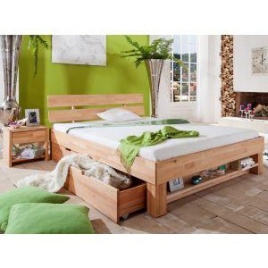 Massief geolied beuken bed Gurin met hoofdeinde, boekenplank, laden en nachtkastjes