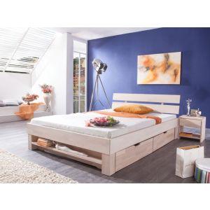 Massief beuken whitewash bed Gurin met hoofdeinde, boekenplank, laden en nachtkastjes 2