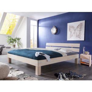 Massief beuken whitewash bed Gurin met hoofdeinde en nachtkastjes