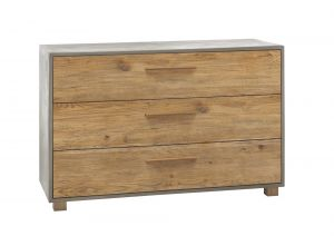 Oak-Vintage - 3 Laden commode - Massief eiken / Betonlook - Chest