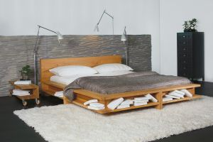 Bed Libro in massief geolied eikenhout