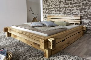 Massief geolied wildeiken balkenbed met 2 laden Brixton