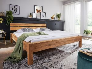 Massief geolied wildeiken bed met balkenbed-look Toviere