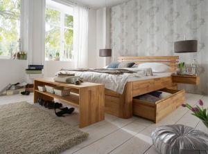 Massief houten bed Carola natuurlijk geolied, optioneel met laden