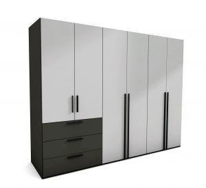 Draaideur kledingkast - Horizont 100 - 6 deurs - 3 Laden - 3 units