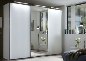 Schuifdeur kledingkast Satino - Sensa - Mat glas - 3 deurs - Gladde deuren