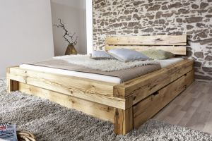Massief geolied wildeiken balkenbed met  2 laden Solaise