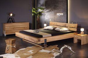 Slede balken bed, massief moeraseiken met verchroomd metaal