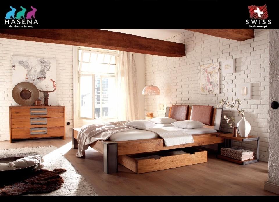 Houten bed massief wild eiken Bormio van Hasena